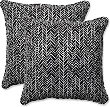 Pillow Perfect Outdoor | Indoor Herringbone Night 16.5 Inch Throw Pillow, 16.5 X 16.5 X 5, Black