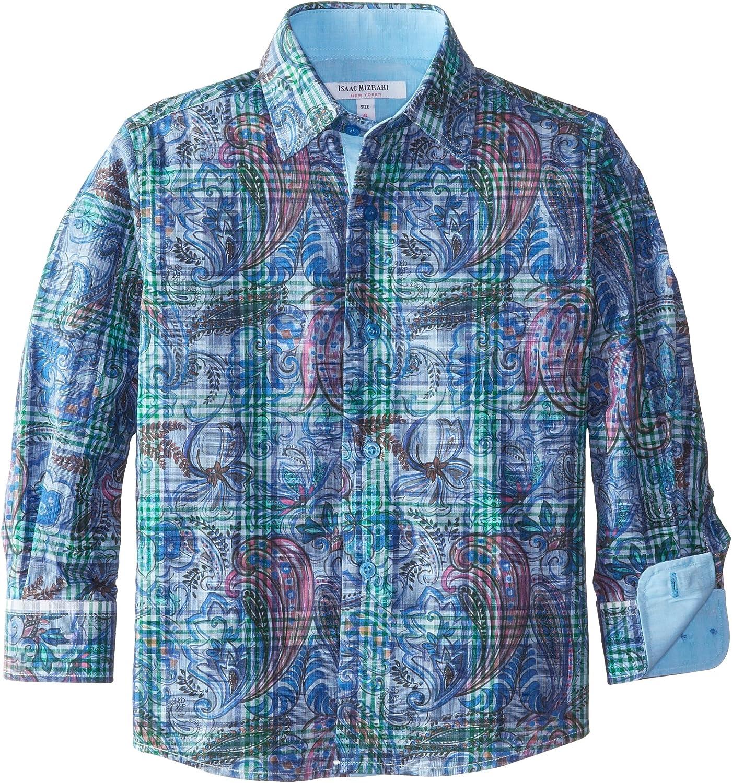 Isaac Mizrahi Little Boys' Botanical Plaid Shirt