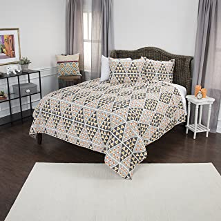 Rizzy Home Maddux Place Tommy Quilt Set, King, Grey/Orange