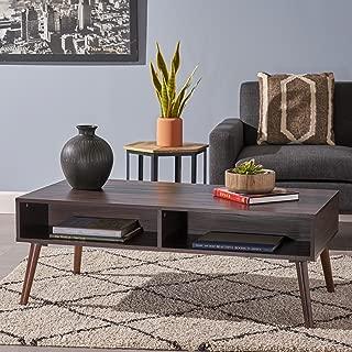 Christopher Knight Home Andy Mid Century Modern Fuax Wood Overlay Coffee Table, Dark Walnut