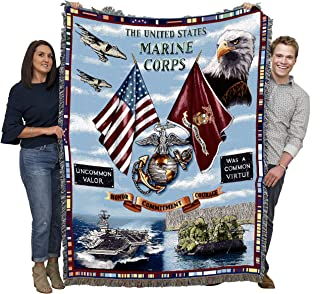 Pure Country Weavers Marine Corps USMC Aircraft Soldier Veteran Gift Land Sea and Air Woven Throw Blanket 100% Cotton Made in The USA 72x54