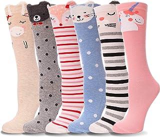 6 Pairs Girls Knee High Socks Soft Warm Cotton Lovely Socks Cute Animal Pattern