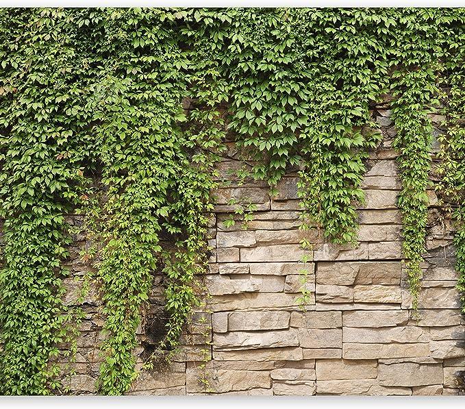 VLIES FOTOTAPETE Steinmauer mit Gras Tapete XXL Vliestapete
