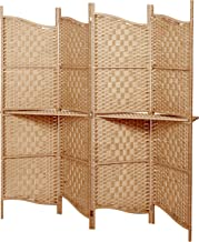 MyGift Freestanding Brown Wood & Woven Paper Rattan Room Divider / 4 Panel Screen w/Removeable Display Shelves
