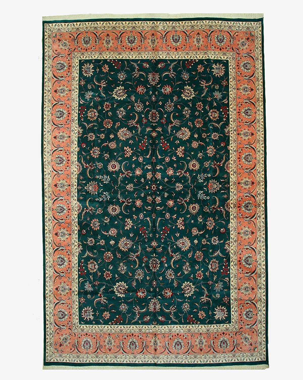 EORC BA2951 Hand-Knotted Wool Pak-Persian 12' x Green Max 71% OFF 18'9 Rug Popularity