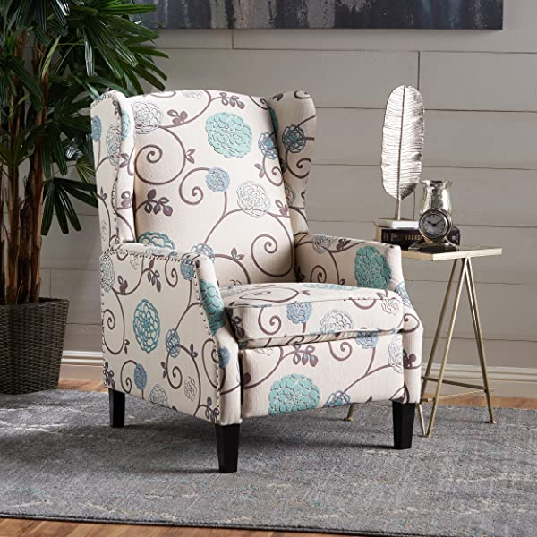 Christopher Knight Home 301080 Westeros Recliner Chair White Blue Floral