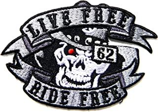 LIVE FREE RIDE FREE 62 Skull Ghost Hog Outlaw Logo Biker Rider Punk Rock Tatoo Jacket T-shirt Patch Sew Iron on Embroidered Sign Badge Costume Gift