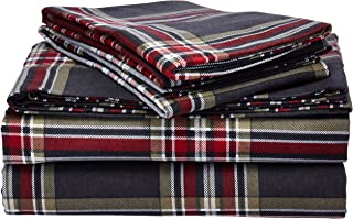 Tribeca Living HEPL170DPSSQU Heritage Plaid 5-Ounce Flannel Printed Extra Deep Pocket Sheet Set Queen Multi
