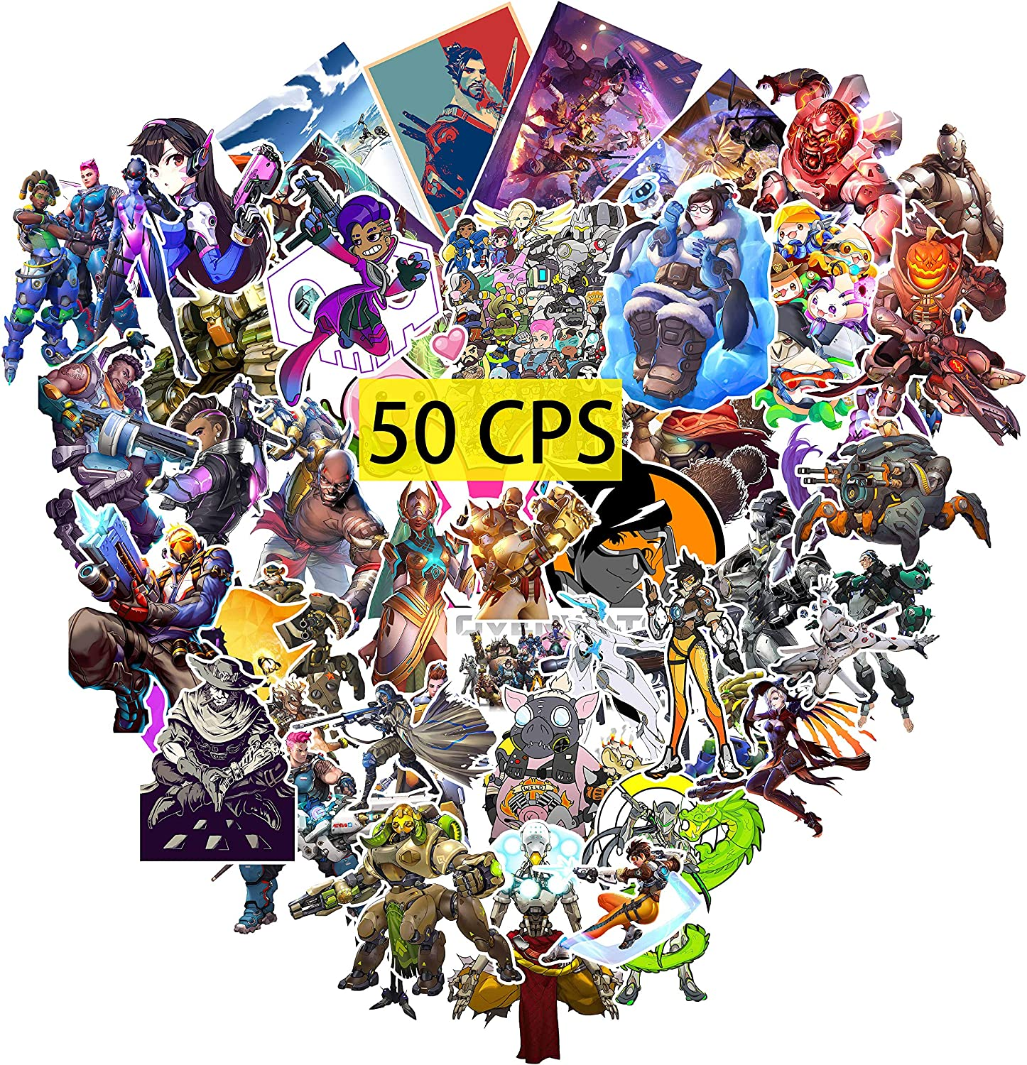 23. Overwatch Stickers (50Pcs Large Size) - Party Supplies