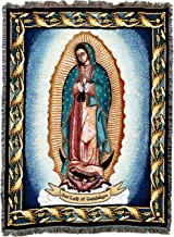 Pure Country Weavers Virgin Mary - Our Lady of Guadalupe Blessed Virgen (La Reina de Mexico) Woven Tapestry Throw Blanket Cotton USA 72x54