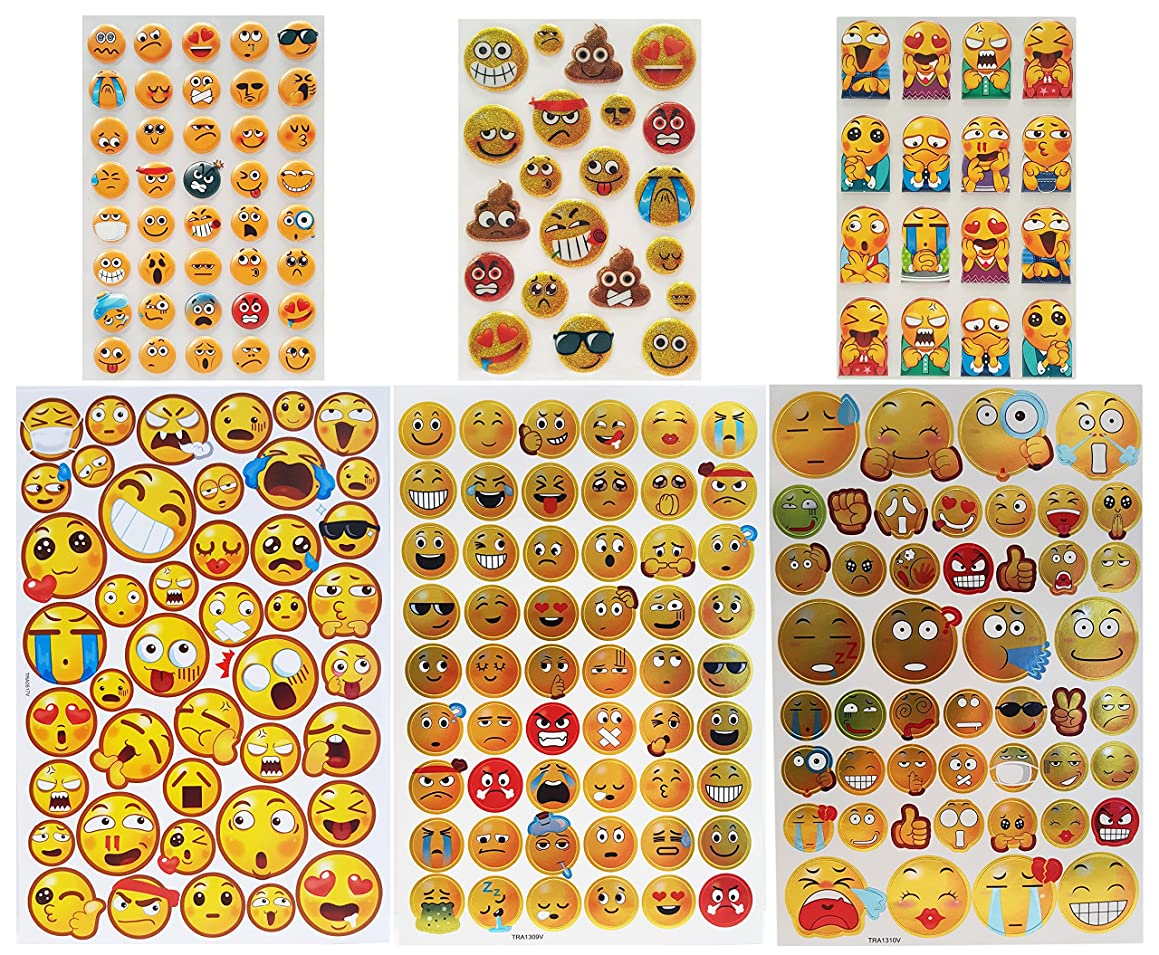 Set of 9 Sheets of Emoji Stickers! 3D Bubbled Emoji Stickers and Reflective Emoji Stickers! Trendy Colorful Designs! Large and Small Emoji Stickers for Decorations, Gifts and More! (Pack of 9 Sheets)