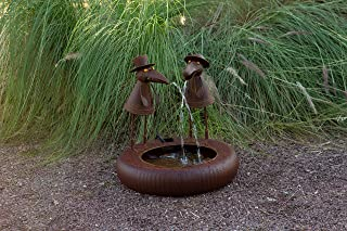 Alpine Corporation NCY356 Metal Toucan Outdoor Water Fountain for Garden, Patio, Deck, Porch-Yard Art Decor, 20-Inch Tall, Brown