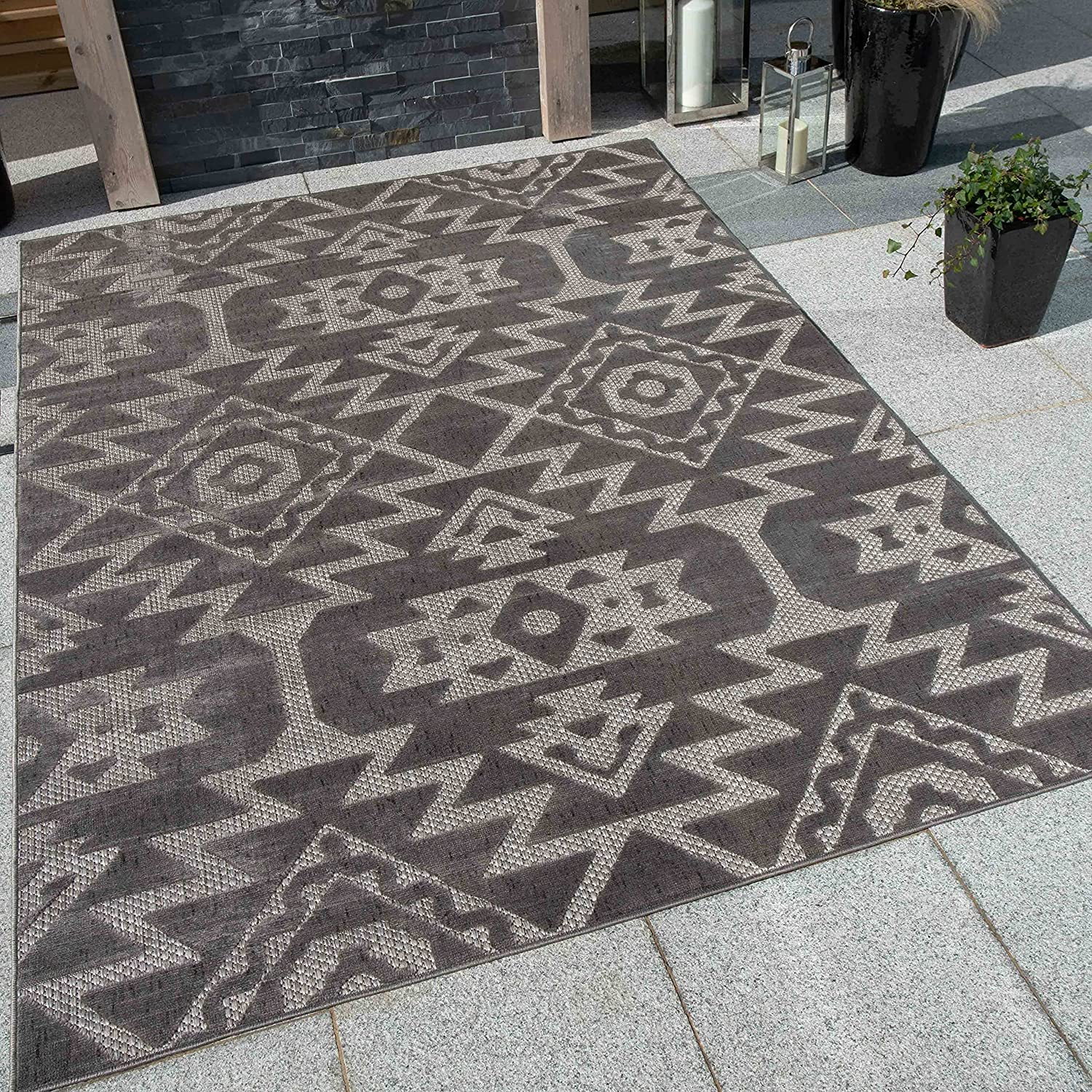 Gray Cream Aztec Outdoor Rug Max 44% OFF Outlet sale feature Friendly Kitchen Pet Utili Washable