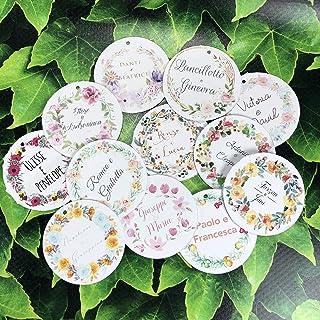 22 cartellini tag bigliettini tondi personalizzati con nomi e cornice floreale a scelta per bomboniere segnaposto cerimoni...
