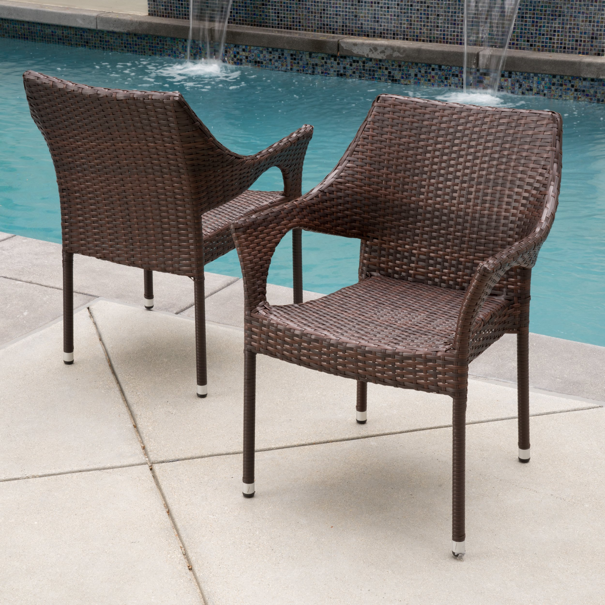 Stackable Outdoor Wicker Dining Chairs Chair Pads Amp Cushions