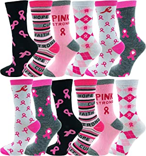 12 Pairs of Womens Breast Cancer Awareness Socks, Pink...