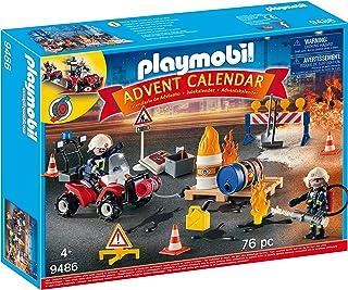 Playmobil - Calendrier de l'Avent Pompiers Incendie Chantier - 9486