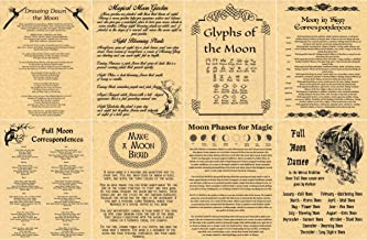The Grimoire Book of Shadows Spell Pages, Set of 8 Moon Pages, Wicca, Witchcraft, Pagan (Gold)