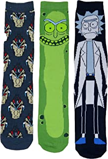 Rick and Morty Mens Casual Crew Socks 3 Pair Pack