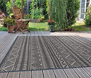Rugshop Geometric Bohemian Indoor/Outdoor Area Rug 5' x 7' Blue