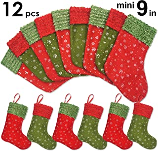 Ivenf Christmas Mini Stockings, 12 Pcs 9 inches Felt with Snowflake Printed, Gift Card Silverware Holders, Bulk Treats for Neighbors Coworkers Kids, Small Rustic Red Xmas Tree Decorations Set