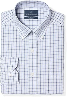 Amazon Brand - BUTTONED DOWN Men's Slim Fit Check Non-Iron Dress Shirt