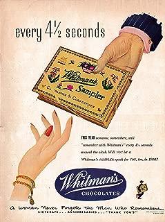 1950 Whitman's Sampler Every 4.5 Seconds-Chocolate-Original 13.5 * 10.5 Magazine Ad