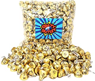 CrazyOutlet Pack - Hershey's Kisses Gold Foils Milk Chocolate with Almonds, Bulk Candy 2 lbs