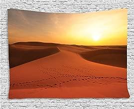 Ambesonne Desert Tapestry, Footprints on Sand Dunes at Sunrise Hot Dubai Landscape Travel Destination, Wide Wall Hanging for Bedroom Living Room Dorm, 80