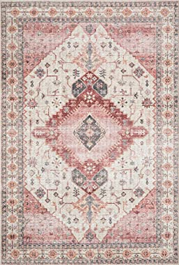 "Loloi ll Skye Collection Printed Distressed Vintage Area Rug, 7'-6"" x 9'-6"", Ivory/Berry"