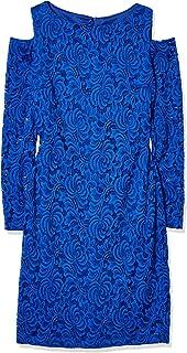 Marina Women's Short Lace Cocktail Cold-Shoulder Dress