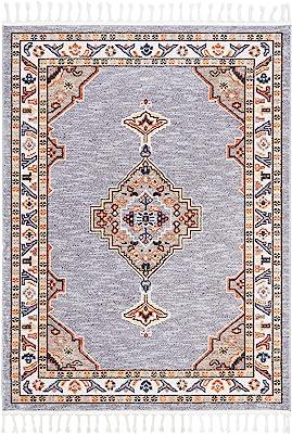 Safavieh Farmhouse Collection FMH830E Boho Tribal Medallion Tassel Area Rug, 3' x 5', Grey / Orange