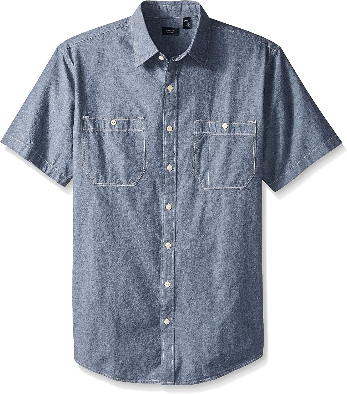 Arrow 1851 Men's Big and Tall Coastal Cove Short Sleeve Button Down Spacedye Solid Shirt