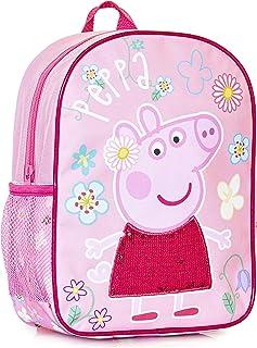 Mochila Infantil De Peppa Pig Para Niñas Con Detalle De Lentejuelas Rosas En El Vestido | Perfecta Para La Escuela De Niño...