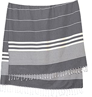 Turkish Towels by SunSpun Linens (Grey) - 39x71in No-Shrink Pre-Washed Pestemal Cotton Oversized Turkish Beach Towel and B...
