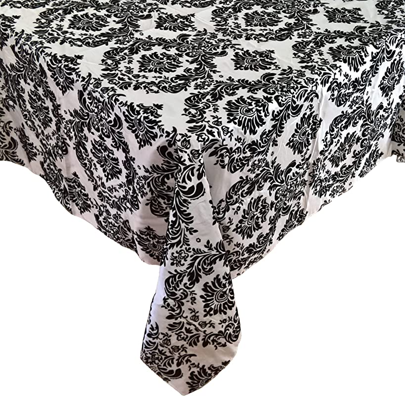 Goldstream Point 60 Inch X 60 Inch Black On White Damask Flocking Table Cloth Overlay Rectangle Square