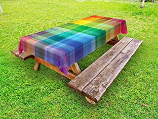 Ambesonne Vintage Rainbow Outdoor Tablecloth, Retro Plaid Design Checkered Squares Rainbow Colored Geometric Pattern, Decorative Washable Picnic Table Cloth, 58