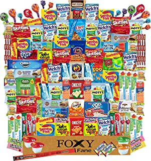 Foxy Fane 120 count Deluxe Snack Box - Ultimate Gift Care Package with Variety Assortment of Crackers, Cookies, Candy, Chi...