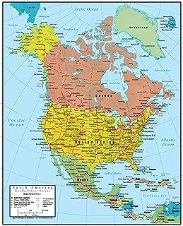 Swiftmaps North America Wall Map GeoPolitical Edition (24x30 Laminated)
