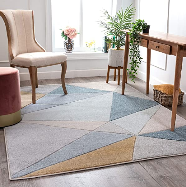 Well Woven Tessa Blue Modern Geometric Shatter Triangles Pattern Area Rug 8x10 7 10 X 10 6