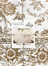 April Cornell Fabric Tablecloth Holiday Floral Toile Pattern Gold Flowers Leaves Berries on Cream - Felicity Gold, 60 Inches by 104 Inches