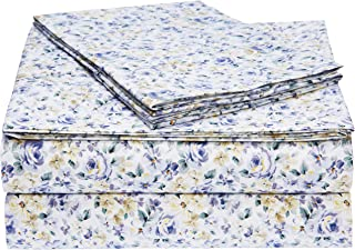 AmazonBasics Light-Weight Microfiber Sheet Set - Queen, Blue Floral