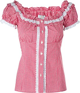 Ramona Lippert Damen Dirndl Bluse Laila Rot Kariert Rundausschnitt mit Rüschen im Rücken einstellbare Schlaufen - Trachtenbluse - Blusen für Trachten z.B. zum Oktoberfest