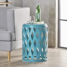 Christopher Knight Home Perciad Indoor 14 Inch Diameter Lattice Matte Teal Iron Side Table