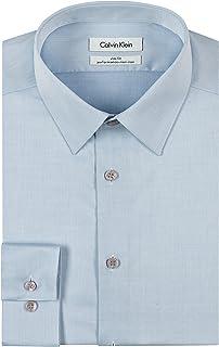Calvin Kleinメンズスリムフィットノーアイロンヘリンボーンポイントカラードレスシャツ カラー: ブルー