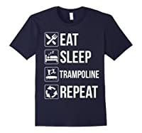 Eat Sleep Trampoline Repeat Funny Gift Shirts Navy