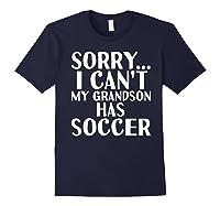 Grandpa Grandma | My Grandson Has Soccer T-shirt Navy