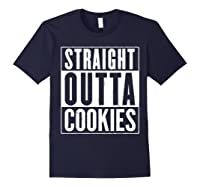 Straight Outta Cookies Distressed Vintage Funny Shirts Navy