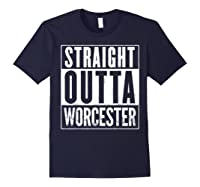 Straight Outta Worcester Distressed Vintage Funny Shirts Navy