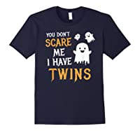 Funny Parents Of Twins Shirt Halloween Gift Navy